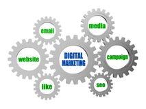 Digitale marketing en bedrijfsconceptenwoorden in zilveren grijs toestel Stock Foto's