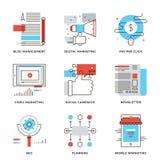Digitale marketing en reclame geplaatste lijnpictogrammen royalty-vrije illustratie
