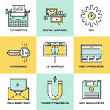Digitale marketing en seooptimalisering vlakke pictogrammen vector illustratie
