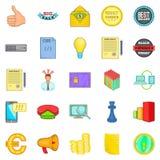 Digitale marketing geplaatste pictogrammen, beeldverhaalstijl stock illustratie