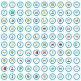 100 digitale marketing geplaatste pictogrammen, beeldverhaalstijl royalty-vrije illustratie