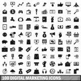 100 digitale marketing geplaatste pictogrammen, eenvoudige stijl stock illustratie