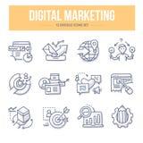 Digitale marketing krabbelpictogrammen royalty-vrije illustratie