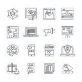 Digitale Marketing Lineaire Geplaatste Pictogrammen royalty-vrije illustratie