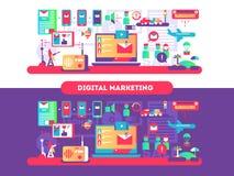 Digitale marketing ontwerpvlakte royalty-vrije illustratie