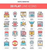 Digitale marketing pictogrammen royalty-vrije illustratie