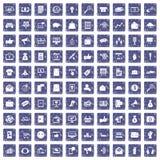 100 digitale marketing pictogrammen geplaatst grunge saffier Royalty-vrije Stock Fotografie