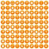 100 digitale marketing pictogrammen geplaatst oranje royalty-vrije illustratie