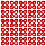 100 digitale marketing pictogrammen geplaatst rood vector illustratie
