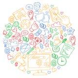 Digitale marketing, sociale media, mededelingen, beheer stock illustratie