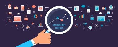 Digitale marketing tendensen, de infographic, marketing groei, seo, mobiele e-mail, optimalisering, inhoud, strategieconcept vector illustratie