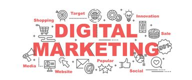 Digitale marketing vectorbanner royalty-vrije illustratie