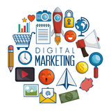 Digitale marketing vlakke pictogrammen royalty-vrije illustratie