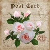 Digitale mit Blumenpostkarte der Weinlese Vektor Stockfotos