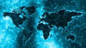 Digitale neurale netwerk verbonden punten, lijnen en wereldkaart royalty-vrije stock fotografie