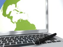 Digitale pen en computer, cartografie, die kaarten, reis trekken royalty-vrije illustratie