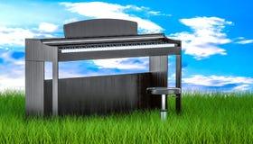 Digitale piano met stoel in groen gras tegen blauwe hemel, 3d ren Stock Foto's