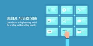 Digitale reclame, online marketing strategie, gegevensanalyse en planningsconcept Vlakke ontwerp vectorbanner Royalty-vrije Stock Foto