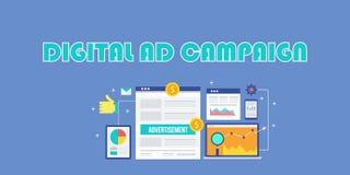 Digitale reclamecampagne, Internet-reclame, sociale media advertenties, mobiele marketing, het concept van de onderzoeksreclame stock illustratie