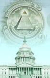 Digitale samenstelling: U S Capitool met geld Stock Fotografie