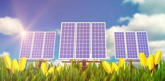 Digitale samenstelling van 3d zonnepaneel Royalty-vrije Stock Afbeeldingen