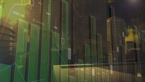 Digitale samenstelling van een grafiek en cityscape royalty-vrije illustratie