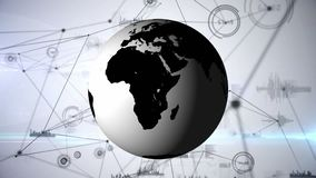 Digitale samenstelling van Wereldbol en blockchain netwerken vector illustratie