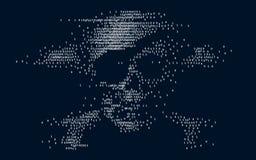 Digitale schedel en gekruiste knekels op binaire code stock afbeeldingen