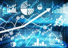 Digitale schets van de verschillende financiële grafieken, de grafieken en de berekeningen Stock Fotografie
