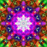 Digitale Schilderende Abstracte Kleurrijke Bloemenmandala background stock illustratie