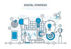 Digitale strategie Digitale marketing, media, het online zaken en kopen die plannen vector illustratie