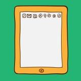 Digitale tablet De stijl van de krabbel Stock Afbeeldingen