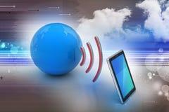 Digitale tablet met aarde, en symbool WiFi Royalty-vrije Stock Afbeeldingen
