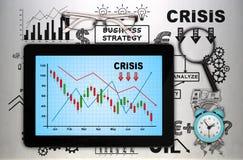 Digitale tablet met crisisgrafiek Stock Fotografie