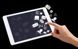 Digitale tablet met toepassingspictogrammen stock foto's