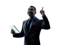 Digitale Tablette des Geschäftsmannes lokalisiert Stockfotos