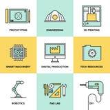 Digitale techniek en productie vlakke geplaatste pictogrammen Stock Afbeeldingen