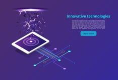 Digitale technologieën Toezicht en het testen op het digitale proces Digitale bedrijfsanalyse Modern isometrisch concept stock illustratie