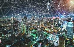 Digitale Technologie-Cirkel met luchtmening van Tokyo, Japan Royalty-vrije Stock Foto