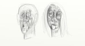 Digitale tekening in brede het schermformaat, figuurlijke, minimalistische, gevoelige en snelle, menselijke gezichten die zij aan Stock Foto