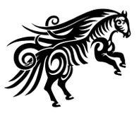Digitale tekening van zwart stammenpaardsilhouet Stock Foto's