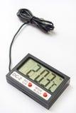 Digitale thermometer met sensor op de kabel Royalty-vrije Stock Foto's