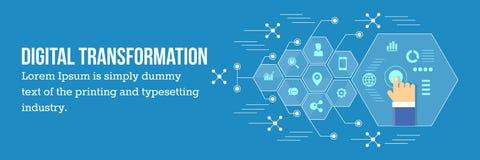 Digitale transformatie - bedrijfsontwikkeling via digitale technologie royalty-vrije stock afbeelding