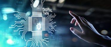 Digitale tweeling bedrijfs en industrieel proces modellering innovatie en optimalisering stock afbeelding