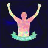 Digitale vector, abstracte winnaar sportman kampioen stock illustratie