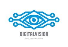 Digitale visie - vector het conceptenillustratie van het embleemmalplaatje Abstract menselijk oog creatief teken Veiligheidstechn Stock Fotografie