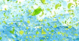 Digitale vruchten kalkplakken die met bladerenanimatie op verse ijsblokjesachtergrond vliegen stock illustratie