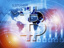 Digitale Währung Bitcoin-Zeichens, futuristisches digitales Geld, blockchain Technologiekonzept Stockfotos