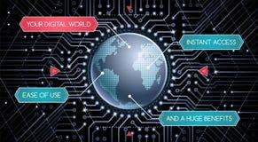 Digitale Wereld - Grafisch Malplaatje Royalty-vrije Stock Afbeeldingen