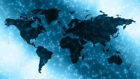Digitale wereldcontinenten, verbonden witte punten en lijnen stock afbeelding